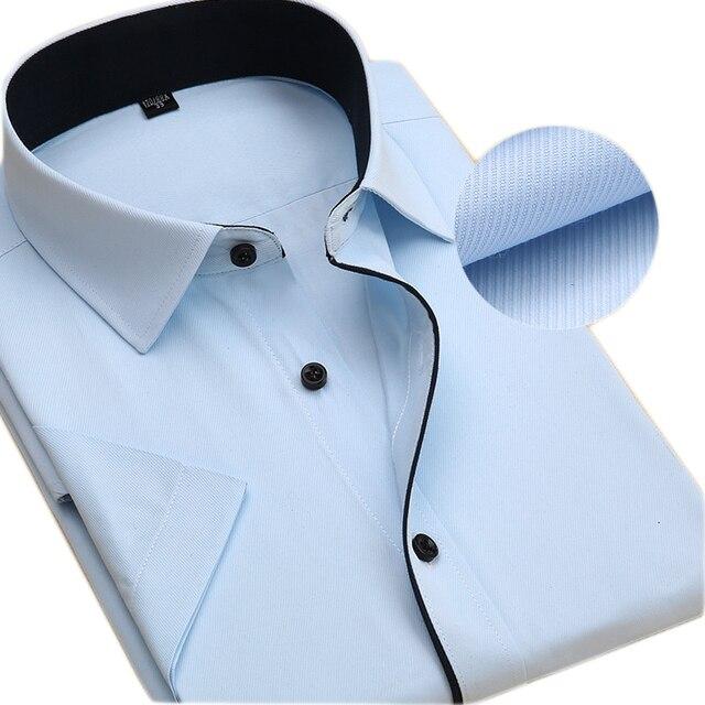 Дешевые Китай Импортных Высококачественных Мужские Businees С Коротким Рукавом Летние рубашки Мужские Формальные Карьера Социально-Вскользь-рубашки Черный Воротник