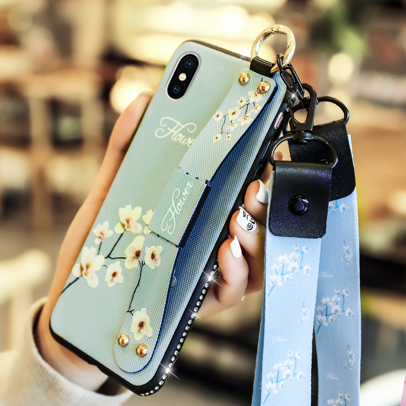 Wrist Strap Soft TPU Phone Case For iphone 7 8 6 6s plus Cases For iphone X Xs max XR Jewelled Diamond Flower Floral Ring Holder in Fitted Cases from Cellphones Telecommunications