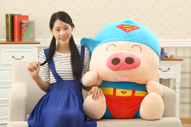 about 95cm McDull pig turn to superman plush toy throw pillow Christmas gift w8086 lovely giant panda about 70cm plush toy t shirt dress panda doll soft throw pillow christmas birthday gift x023