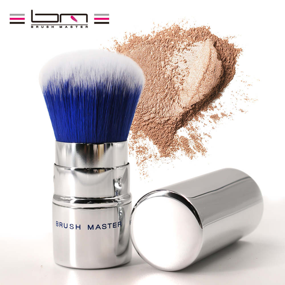 цена на Brush Master Retractable Kabuki Makeup Brush Blush Foundation Powder Brush Synthetic Fiber Hair Sliver Travel Cosmetic Tools