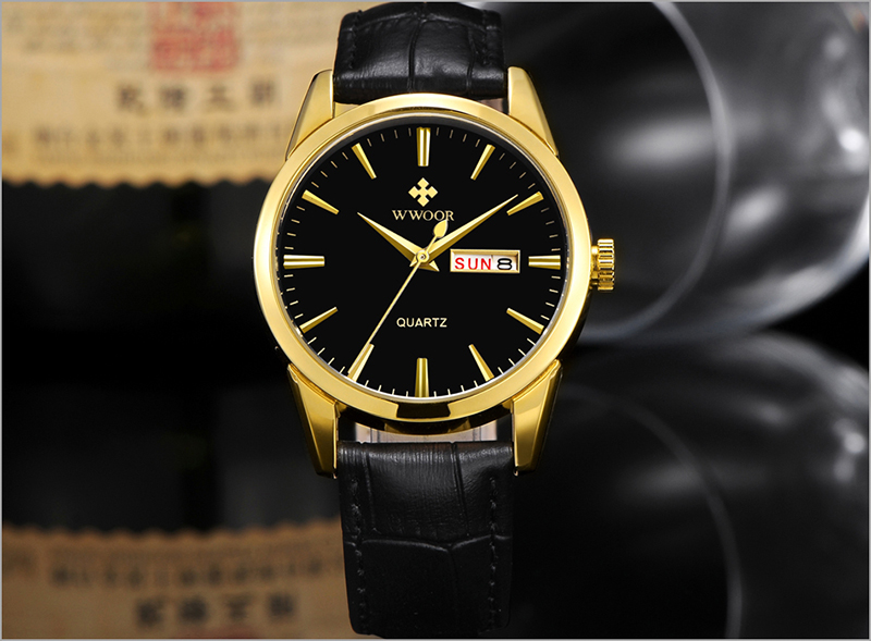 WWOOR 2019 Men\`s Watch Top Brand Luxury Sport Watch Men Quartz Gold Watches Genuine Leather Watch For Men relogio masculino (12)