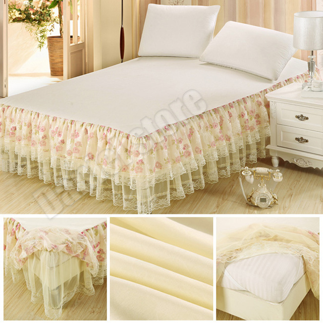 Free Shipping Luxury Bed Skirt Retro Lace Design King Queen Full Size Wrap Around Bedspreads Mattress