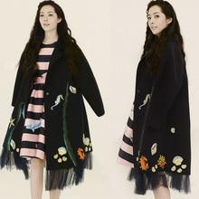 New Coat 2016 Winter Women's Silhouette Embroidery Mesh Patchwork Lapel Woolen Wild Type Coat Long Jackets Parka Coats Outerwear