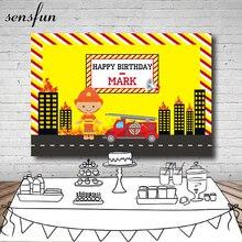 Sensfun Building On Fire Truck Firemen Theme Backdrop Yellow Black Boys Birthday Party Photography Backgrounds For Photo Studio
