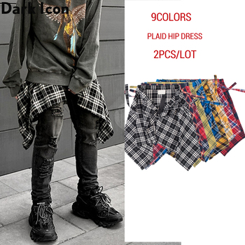 Dark Icon Printed Irregular Hemline Men's Dress Hip Hop Dress Men Side Pockets with Waist Band Hip Dress 9colors 2pcs/lot rolled cuff pockets side split curved dress
