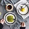 European Style Ceramic Tableware Black And White Lines Dishes Plates High Quality Bone China Plate