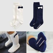 Cotton Newborn Toddler Knee High Sock Baby Boy Girl solid Socks with bow Anti Slip Leg Warmers For Newborns 0-4T