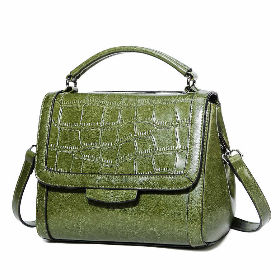 40f666390a1d ... 2018 Brand genuine leather women large shoulder bag female crocodile  pattern Fashion bag Lady handbag ...