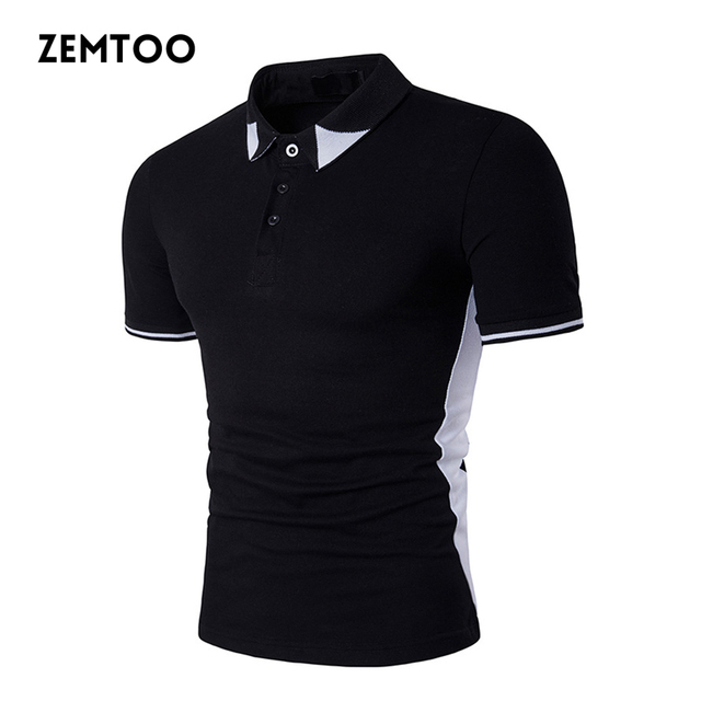 f7260695c1e Simple Style Men Polo Short Sleeves Tops Black White Hit Color Polo Shirt  Baseball Jersey Camisa