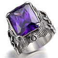 Men Silver Dragon Claw Amethyst Purple CZ 316L Stainless Steel Biker Ring