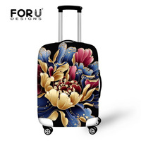 "FORUDESIGNS Big Floral Suitcase Cover Elastic Spandex Travel Accessories Anti-Scratch Luggage Cover for 18""-28"" Trolley Suitcase"