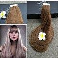Brilho total Ash Brown Cor 8 Fita no Cabelo Humano Remy Fita Extensões de cabelo de 14 polegada a 24 polegada Sem Costura Extensões de Cabelo Trama Da Pele