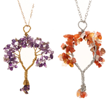 Fashion Tree of Life  Quartz Necklaces Pendants Natural Stone Crystal Pendant Necklace for Women Diy Jewelry Gifts Dropshipping
