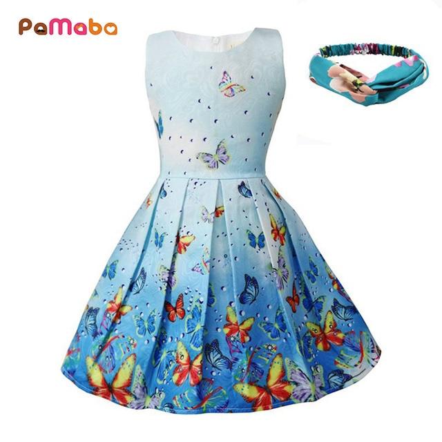 bbeaa41260941 PaMaBa Bohème Filles Papillon Robes en Rose Bleu Vert D été Enfants Bébé Vêtements  Filles
