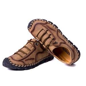 Image 4 - Mynde 2019 yeni moda stil deri bahar rahat ayakkabılar erkekler el yapımı Vintage loaferlar daireler sıcak satış Moccasins büyük boy 38 48
