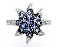 Hutang Natural Iolite Gemstone Solid Two Tone Sterling Silver 925 Starfish Ring Women S Fine Jewelry