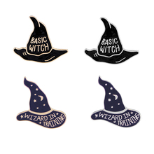 Basic witch pins and brooches Badges Hard enamel Witch hat pin jewelry Denim jackets accessories
