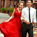 Red Appliques Sequins Beach Chiffon Wedding Dresses 2015 With Cap Sleeve New Design Princess Long Bridal W2082 V-neck Stunning