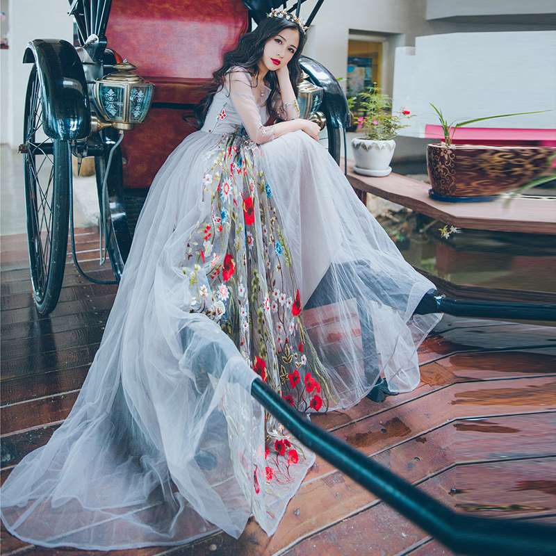 AIGYPTOS YHC 2017 New Arrivals Spring Summer Women Vintage Slim Mori Girl Luxury Embroidery Mesh Vacation Beach Maxi Long Dress vacation