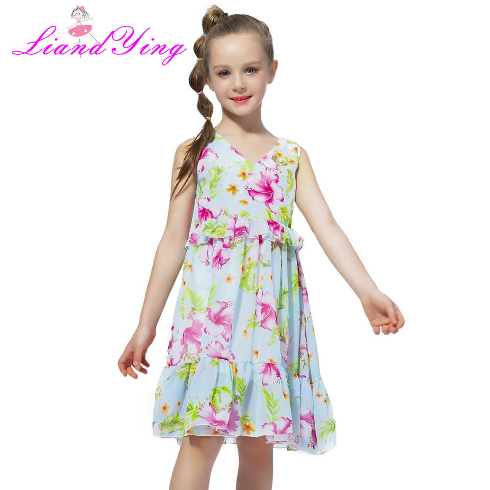 bf5fb208d6e37 Big Girls Dress Age 10 12 years Summer Chiffon Dress V-neck Leaves Dress  For Little Girl Size 6 7 8 9 Teenage Girls Clothes