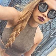 Summer time Crop Tank High Classic Brown Fake Leather-based Suede Cropped Feminino Clothes Horny Camis Ladies Tops Slim Cami Celebration Membership Vest