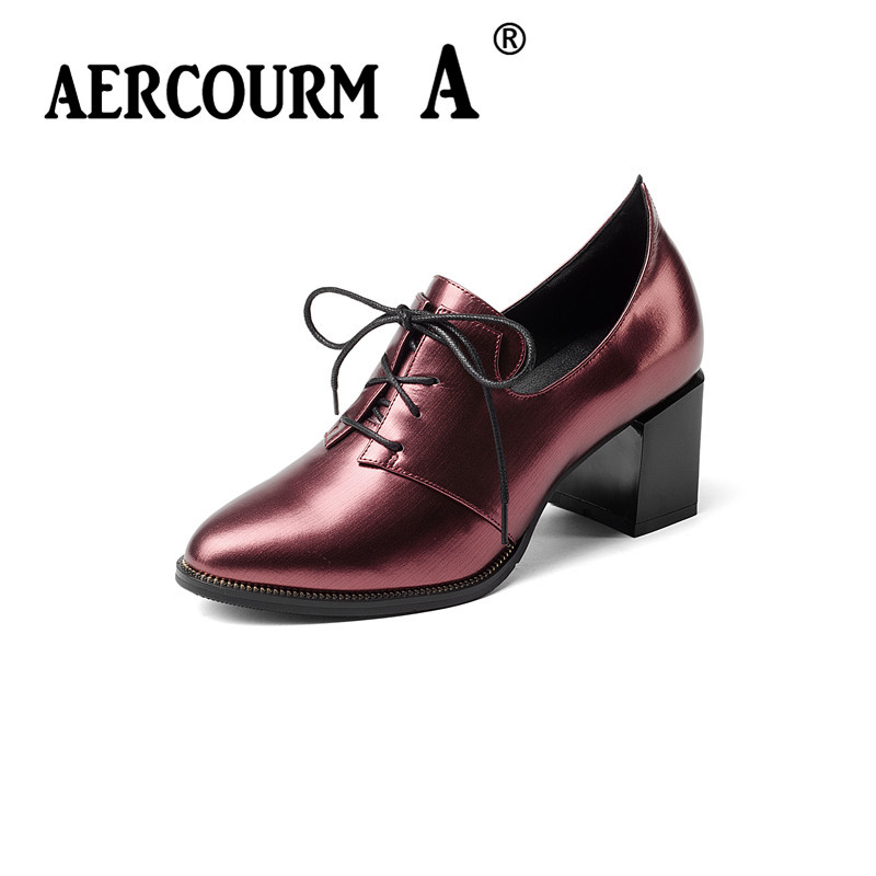 Aercourm A Lace Genuine Leather Women Shoes 2017 New Autumn Pointed Female Casual Square High Heels Shoes Woman Size 34-43 H929 aercourm a women black pumps 2018 spring high heels shoes woman shoes genuine leather square head rivet pointed shoes dtn8 1