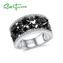 Santuzza Silver Rings for Woman Black spinels Stone Ring AAA Cubic Zirconia Rings Pure 925 Sterling Silver Party Fashion Jewelry cheap 925 Sterling Women GDTC Pave Setting Silver Ring for Women ROUND TRENDY Bridal Sets 100 925 Sterling Silver White Rhodium Plated