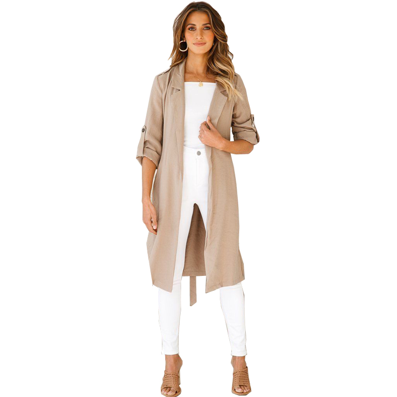 Waterfall Collar Pocket Front Wrap Work Wear Trench Peach 3/4 Sleeve Apricot Knee Length With Belts Office Women Coat
