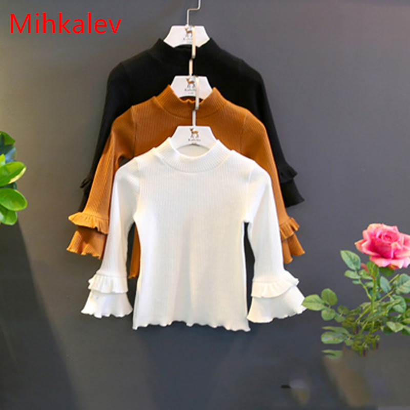 Mihkalev spring girl top long sleeve t shirt for girls cotton tshirt 2-8Years children clothing outfits kids leisure clothes