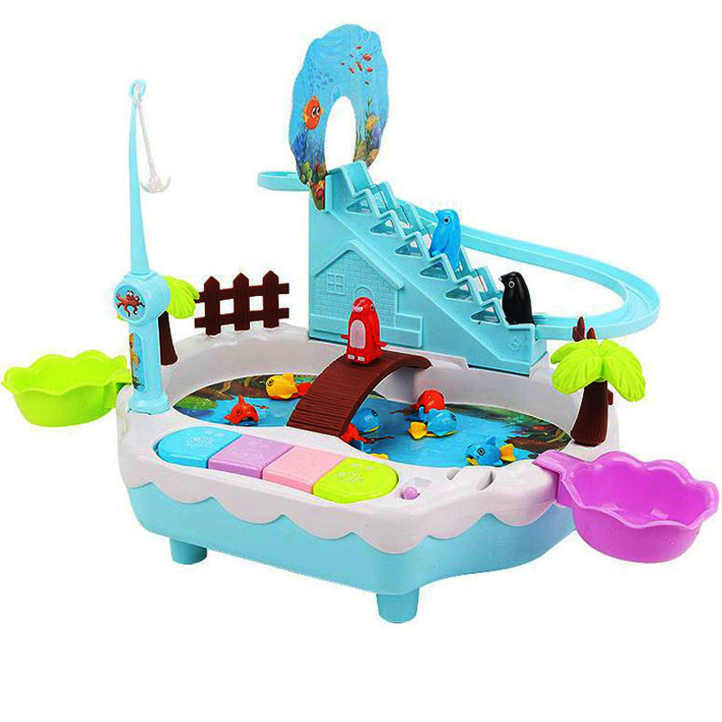 Children Electric Fishing Toy Penguin Climb Stairs Magnetic Fishin Table Light Music Kids Outdoor Play Sand Set For Child DSH002