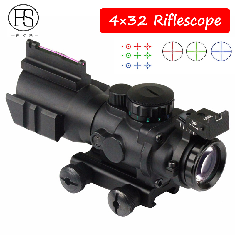 Tactical 4x32 Military Riflescopes Hunting Outdoor Sniper Scope Red Green Dot Fiber Sight For Airsoft Gun Rifle 20mm Mount very100 tactical airsoft 1x32 illumination red green dot sight rifle scope for outdoor hunting with 20mm weaver rail