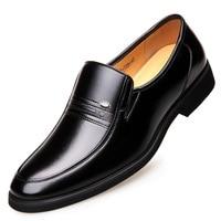 British Slip on Fur Leather Shoes Men Winter Footwear 2019 Business Formal Dress Shoes Elegant Suit Office Shoes Warm Shoe