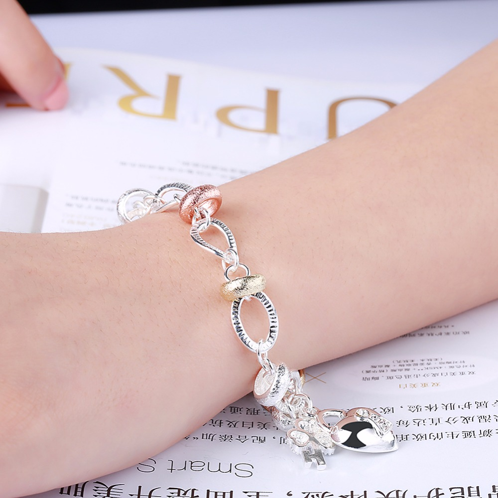 MEEKCAT Wholesale silver colourbracelet,925 stamp silver plated ...