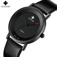 Men Watches Top Brand Luxury Watch Men Ultra Thin WWOOR Fashion Watch Leather Men's Quartz-watch Wristwatch relogio masculino