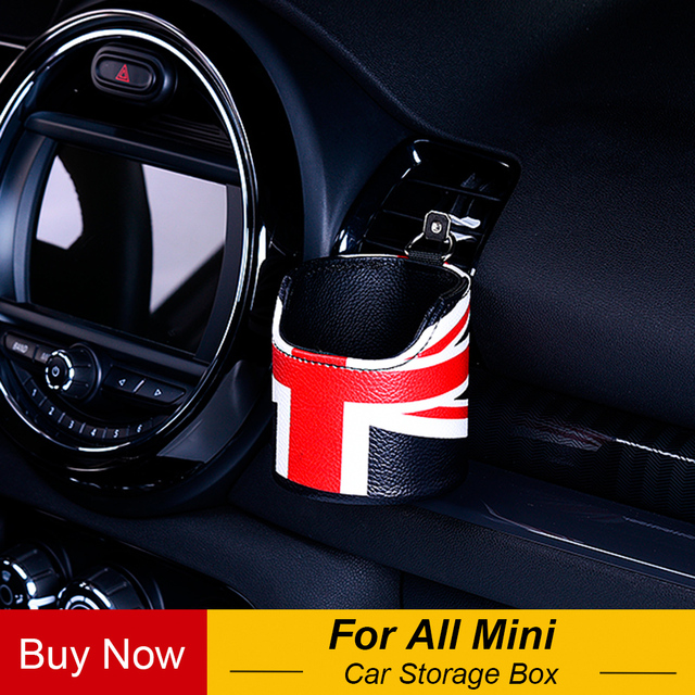 1pc Union Jack Leather Car Auto Air Outlet Pouch Box Bag Organizer Cell Phone Pocket Storage Holder For Mini Cooper Countryman