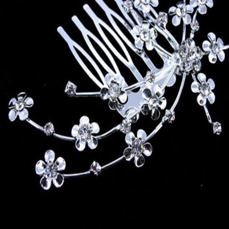 Aksesoris Rambut pengantin Warna Silver Vintage Wedding Party Bridal - Perhiasan fashion - Foto 4
