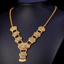 U7 Borlas Largo Collar de Las Mujeres Indio Joyería Al Por Mayor de Oro Amarillo Plateado Hueco Colgante Collar Para Las Mujeres Maxi N1592