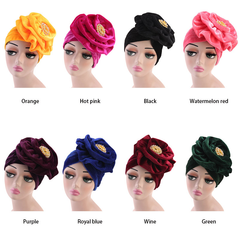 The Muslim Alloy brooch Flower Stretch Turban Ruffle Hair Hats Beanie Bandanas Scarf Head Wrap Headwear for Women 01|Islamic Clothing|   - AliExpress