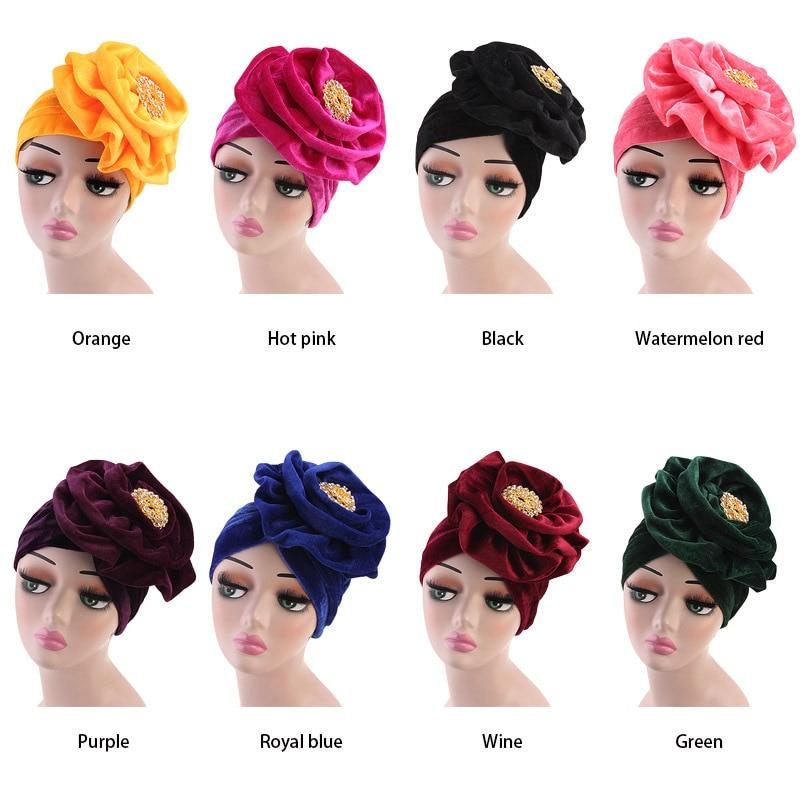 The Muslim Alloy brooch Flower Stretch Turban Ruffle Hair Hats Beanie Bandanas Scarf Head Wrap Headwear for Women 01