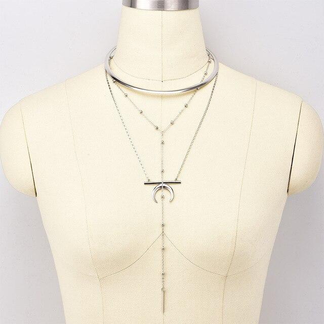 Bls-miracolo punk accessori moda, gioielli Trendy Multi-strato di luna ciondolo con Coppie di Torsione Della Collana bel regalo per l'amante N559