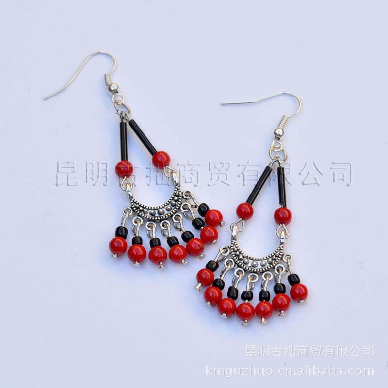Free Shipping Ethnic Tibetan Bead Earrings Hang Month Handmade Homemade Wedding Supplies In Drop From Jewelry Accessories On
