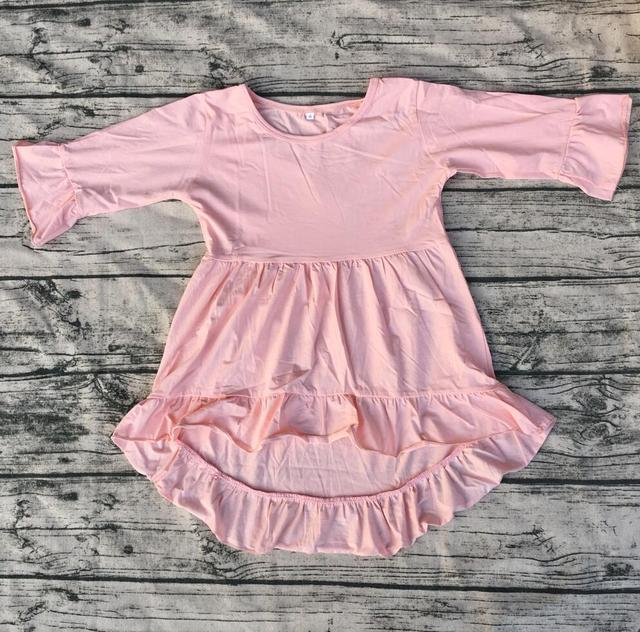 5795fa3eb Hot Sale High Low Ruffle Kid Dress Wholesale Boutique cotton Frocks ...