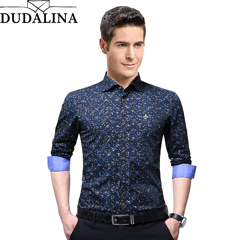 Dudalina 2020 Print High Quality Brand Male Shirt Long Sleeve Shirt 100% Cotton Slim Fit Shirt M-5XL Casual Shirt Men Clothes