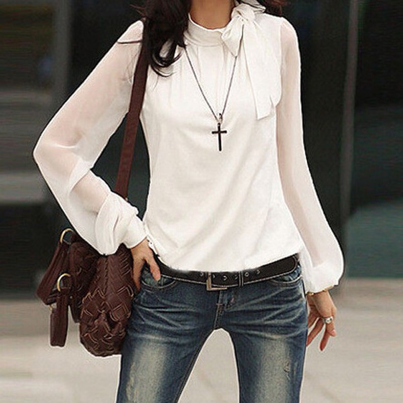 Blusas Autumn 2018 Women Sheer Sexy Blouses Turtleneck Bow Cutout Long Puff Sleeve Blouse Shirt Office Female Retro Thin Tops