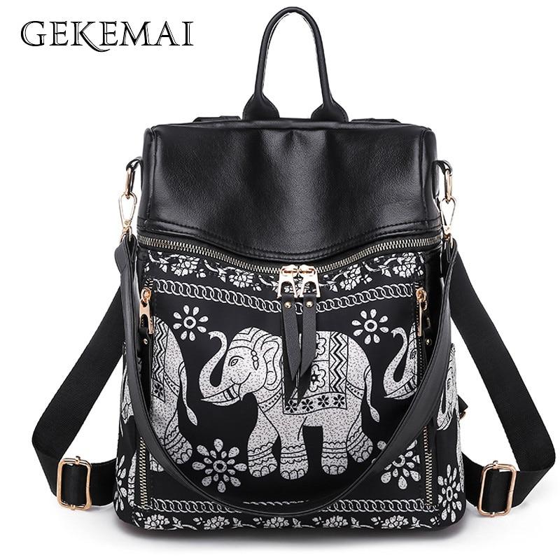 Fashion Anti-theft Women Elephant Print Backpacks Ladies Large Capacity Shoulder Bags Waterproof Oxford And PU School Travel Bag