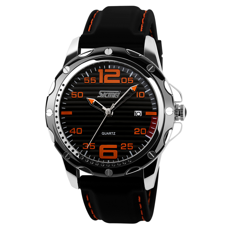New Famous Brand Rubber Fashion Quartz Men Casual Watch Calendar Date Work 30M Waterproof Wristwatch new famous brand skmei fashion leather strap quartz men casual watch calendar date work for men dress wristwatch 30m waterproof