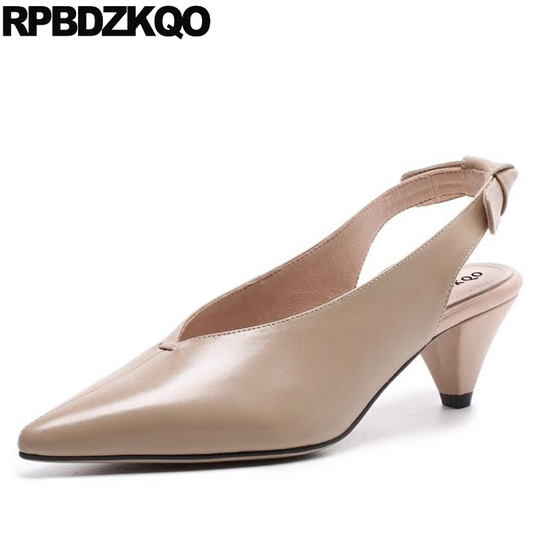Pointed Toe Women Leather Grey Shoes High Quality Retro Genuine Nude Pumps Bow Chunky Medium Heels Slingback Size 4 34 Sandals round toe beige strap ladies metal high heels medium chunky modern block slingback size 4 34 sandals shoes 2017 summer pumps new