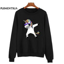 c9274c4a3e910a Puimentiua Long Sleeve O-Neck Hoodies Sweatshirt Unicorn Print Kawaii  Pullover Casual Jumper Coat Sweatshirt