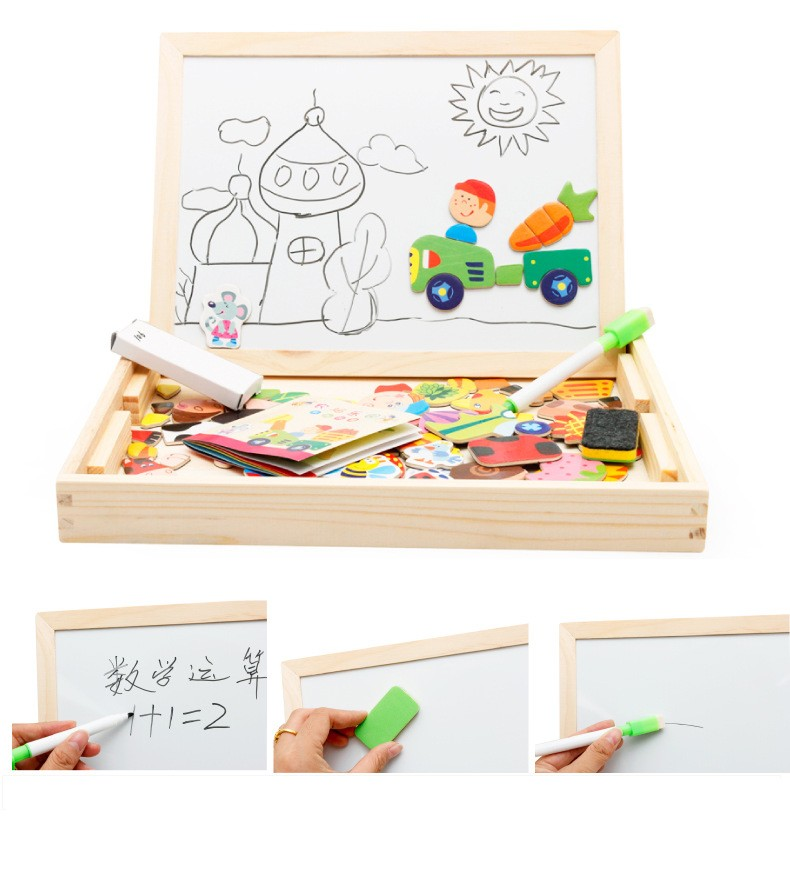 Educational Magnetic Puzzle Drawing Writing Board Wooden Easel Toy Kid Sketchpad