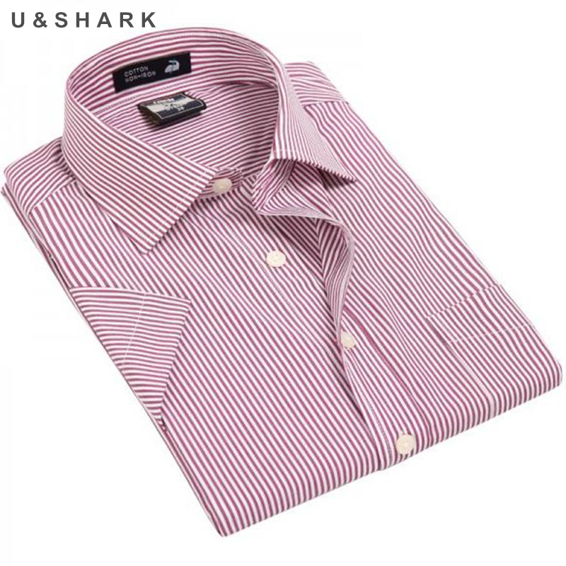 7f0127ab890c 2017 summer new Oxford cotton Brand Mens casual shirt Striped male short  sleeved Business Dress Shirts Formal Work Shirts Men-in Casual Shirts from  Men s ...